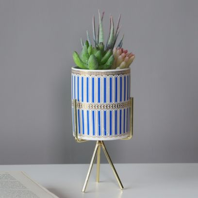 Mason Blue Planter with Stand