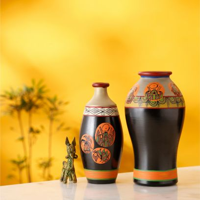 Orange And Black Madhubani Tatto Handpainted Vases - Set of 2
