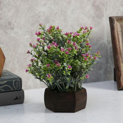 Purple Artificial Bahubali Leaves and small Flowers Plant with Wood Hexagon Pot