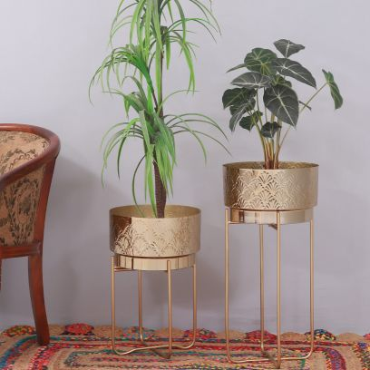 Quad Brass Finish Metal Planter with Stand