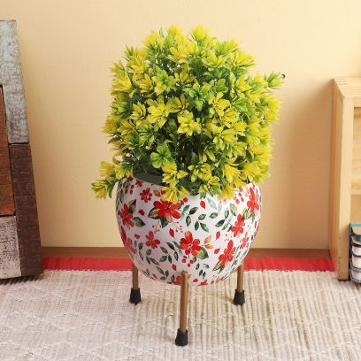 Floral Metal Plant Pot with Stand