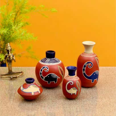 Rustic Red Colour Happy Elephant Vases - Set of 4