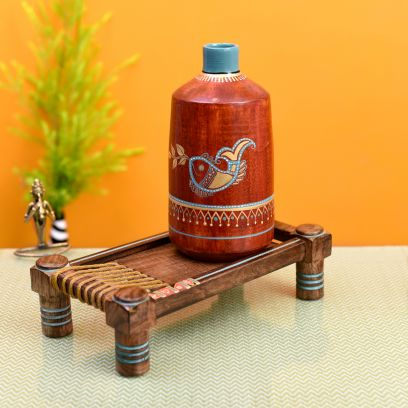 Rustic Red Madhubani Vase With Ethenic Charpai Stand