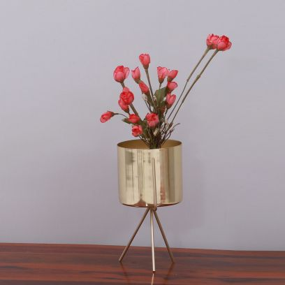 Trian Brass Finish Metal Planter with Stand