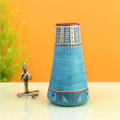 Turquoise Blue Colour Conical Earthen Vase