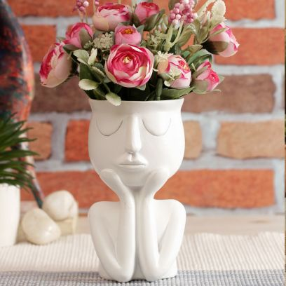 White Human Figurine Ceramic Flower Vase