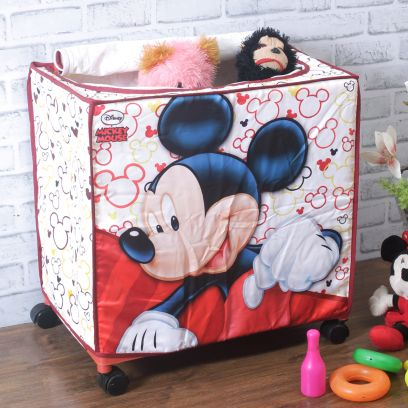 Disney Mickey Mouse Pink Collapsible and Portable Kids Toys Storage