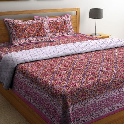 Maroon Screen Print Reversible Double Bed AC Comforter