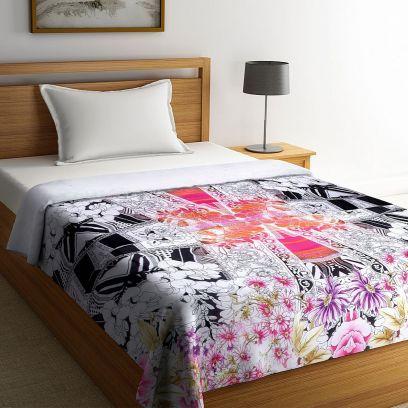 Multicolour Digital Printed Organic Cotton Single Bed Quilt
