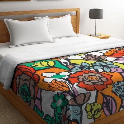Multicolour Organic Cotton Digital Floral Printed Double Bed Quilt