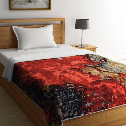 Multicolour Organic Cotton Digital Floral Printed Single Bed Quilt