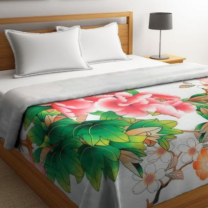 Multicolour Organic Cotton Digital Printed King Bed Quilt
