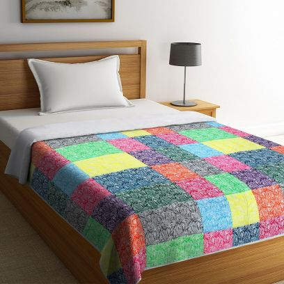 Multicolour Organic Cotton Digital Printed Single Bed Quilt