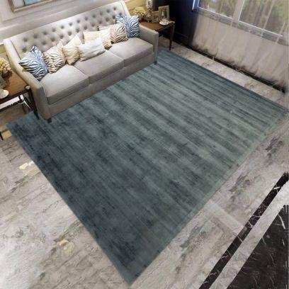 Blue Grey Sheared Hand Woven Viscose Carpet - 6.6 x 9.6 Feet