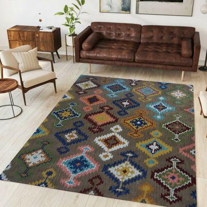 Brown I-Kat Design Hand Tufted Woollen Rug - 8 x 5 Feet