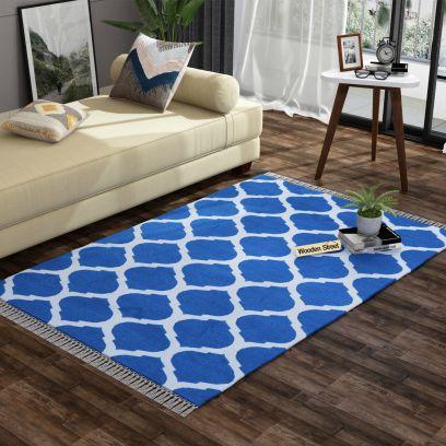 Fierce Blue Cotton Flat Weave Rug - 4 x 6 Feet