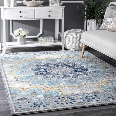 Floral Print Vintage Nylon Rug for Living Room