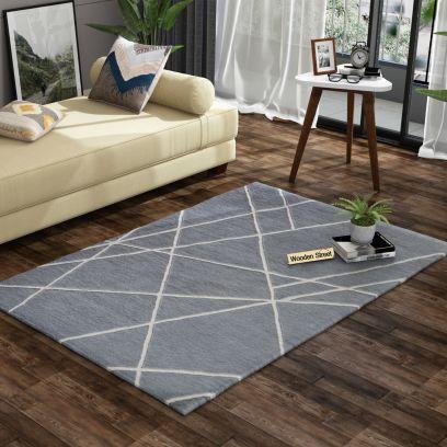 Grey Laser Geometric Pattern Hand Tufted Woolen Carpet - 6 x 4 Feet