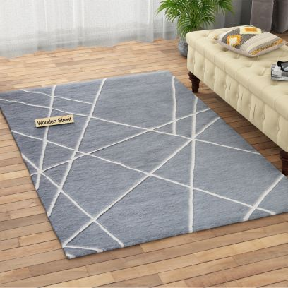 Buy Geometric Pattern Hand Tufted 6 x 4 feet Woolen Carpet from Wooden Street