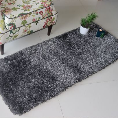 Grey Soft Shaggy Runner - 5 x 2 Feet