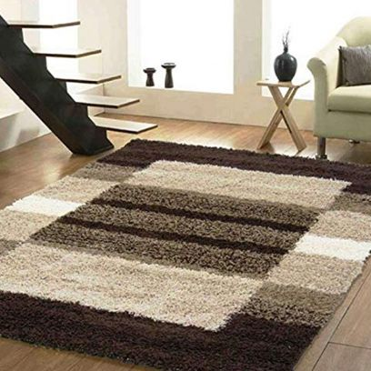 Multicolour Hand Tufted Anti-Skid Polyester Shaggy Carpet - 6 x 4 Feet