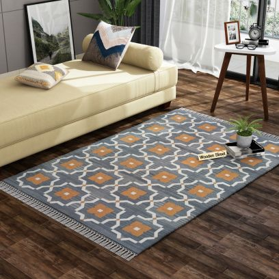 Lumina Grey Cotton Flat Weave Rug - 4 x 6 Feet