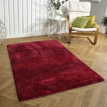 Maroon Anti-Skid Soft Microfibre Shaggy Carpet - 6 x 4 Feet