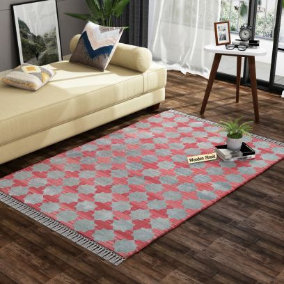 Mottled Moss Cotton Flat Weave Rug - 4 x 6 Feet