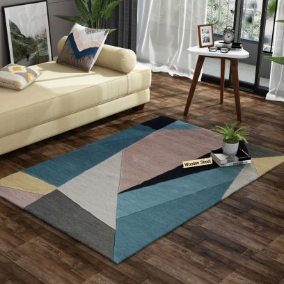 Multicolor Abstract Pattern Hand Tufted Woolen Carpet - 6 x 4 Feet