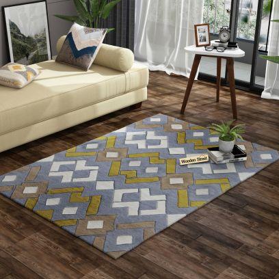 Multicolour Hemp Geometric Pattern Hand Tufted Woolen Carpet - 6 x 4 Feet