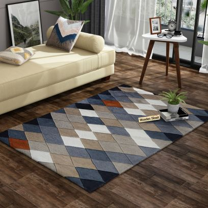 Rhombus Geometric Pattern Hand Tufted Woolen Carpet - 6 x 4 Feet