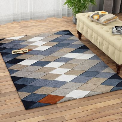 Geometric Pattern Hand Tufted Woolen Carpet Online at Wooden Street