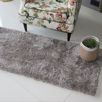 Silver Soft Shaggy Runner- 5 x 2 Feet