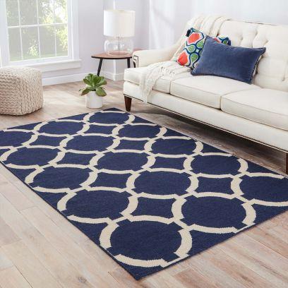 Trellis Pattern Modern Flat Weaves Hand Woven Woolen Carpet - 8 x 5 Feet