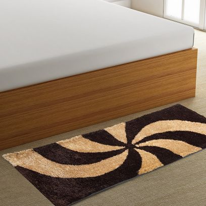 Abstract Pattern Polyester Shaggy Bedside Runner