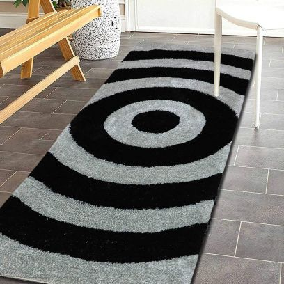 Black and Sliver Microfibre Polyester Shaggy Floor Runner