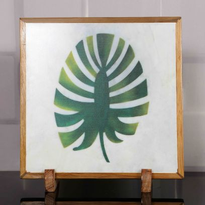 Leaf Love Marble Decorative Plate Showpiece