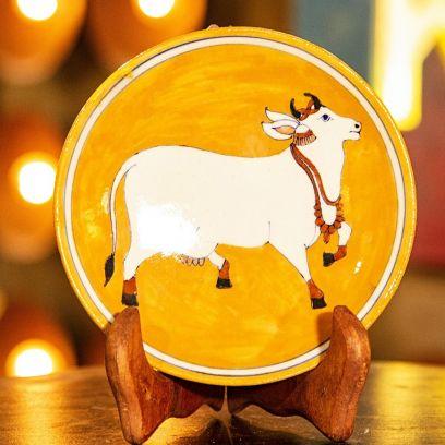 Orange Kamdhenu Cow Decorative Plate