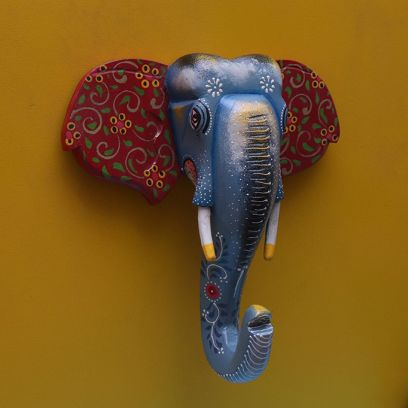 Multicolour Wooden Elephant Face Wall Decor