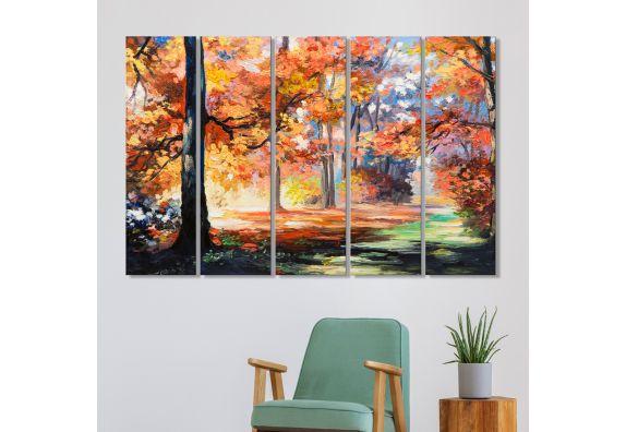 Autumn Yellow Leaves Tree MDF Art Panels - Set of 5 Frames