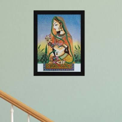 Beautiful Bani Thani Traditional Indian Synthetic Wood Framed Painting