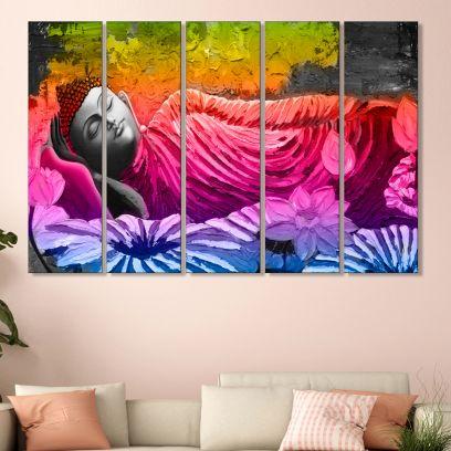 Colourful Flowers and Meditating Buddha MDF Wall Art Panel - Set of 5