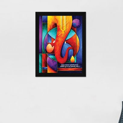 Ganesh Ji Synthetic Wood Framed Painting