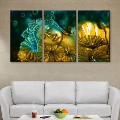 Golden Flowers and Buddha Print Canvas Wall Painting