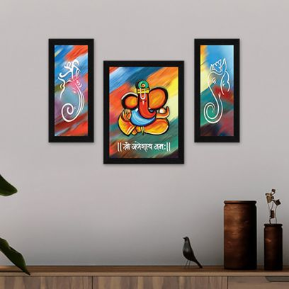 Lord Ganesha Wall Art Synthetic Wood Framed Painting - Set of 3