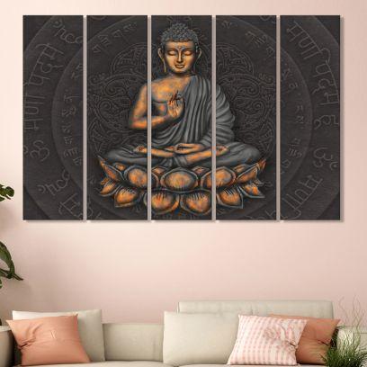 Meditating Buddha MDF Wall Art Panel - Set of 5