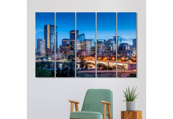 Modern City Evening MDF Art Panels - Set of 5 Frames