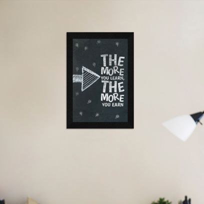 Motivational Quote The More You Learn Synthetic Wood Framed Painting