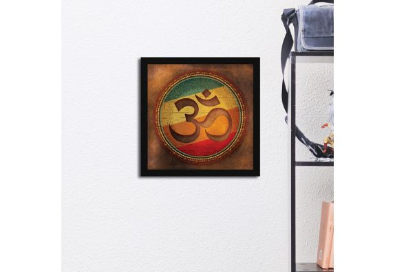 Om Abstract Wall Art Synthetic Wood Framed Painting