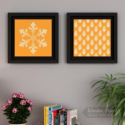 Orange Snow Flake Floater Framed Wall Art